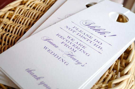 Door Hangers For Wedding Hotel Welcome Bags  Single Or