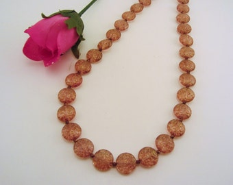 Soft blush pink Czech glass coin bead necklace, small metal bead spacers. Romantic beaded necklace. Great for bride, special treat.