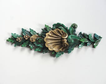 Organic Foliage and Sea Shell Motif Wall Hanging with High Sculpted Relief