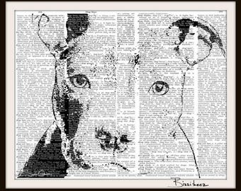 Pitbull art--Dog Art- Pets -  Art Print--Fits 8 x 10 frame