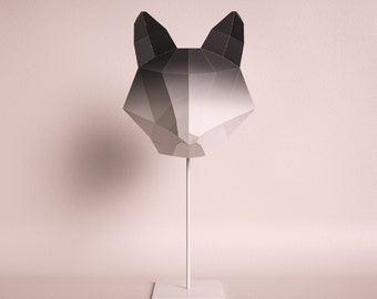 Do it yourself fox etsy fox medium black gradient do it yourself paper lamp shade solutioingenieria Gallery