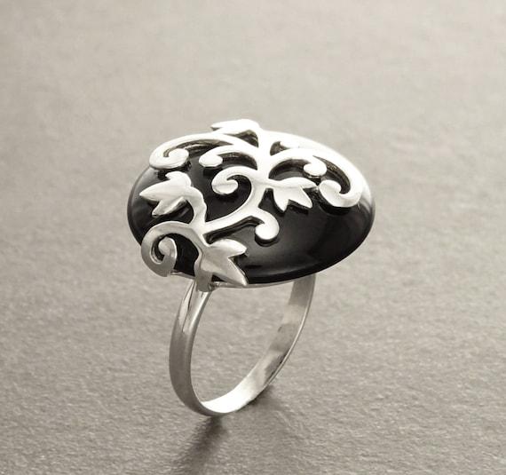 Black Onyx Ring - Flower filigree - Genuine Onyx - Art Nouveau Ring - Sterling Silver - shabby chic ring -Flower ring -  Boho ring