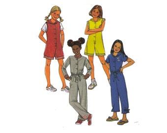Uncut Butterick B4221, sewing pattern, girl's jumpsuit pattern, romper pattern overalls pattern, hooded