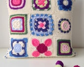 crocheted granny square c...