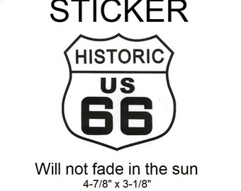"US Historic Route 66 Vinyl Sticker - Will not fade in the sun, 4-7/8"" x 3-1/8"""