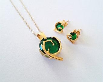 Zelda pendant etsy kokiri emerald 24k gold necklace spiritual stones inspired in the legend of zelda series aloadofball Choice Image