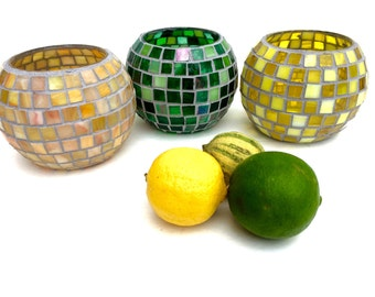 Stained Glass Mosaic Candle Holders, citrus colors votives, Lemon, Lime, Grapefruit, yellow, green, orange-yellow kitchen table centerpiece