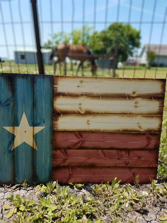 "Wooden Rustic ""Americana Style"" Texas Flag"