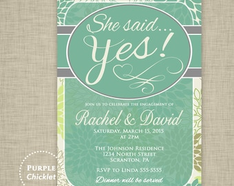 Floral She said Yes Invitation Bridal Shower Green Invite Dinner Party Invitation Engagement Invite Flower Party Invite JPEG file (23)