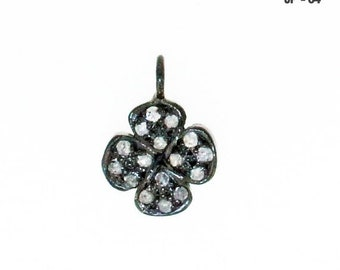 40% Sale -- Beautiful Clove Charm , 11 mm Pave Diamond With Sterling Silver