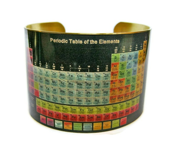 Periodic Table Of Elements Cuff Bracelet Brass Gifts For Her