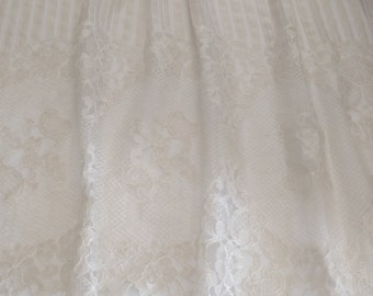 Beige Lace Fabric by the 1/2 Yard, Beige Chantilly Lace with Wide Double Scalloped Edges