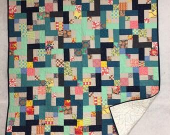 Quilt, pieced, patchwork, modern fabric, throw