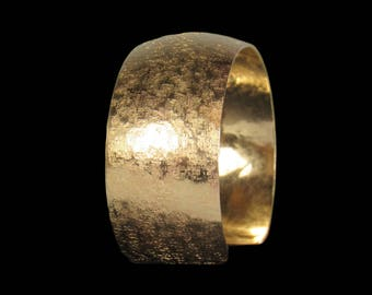 Textured Cuff Bracelet, Hand-Hammered and Domed NuGold