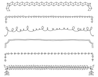 Set of Borders - Art Outlines Full Page 9 Original Hand Drawn Outline Illustrations