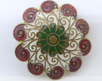 Antique French Champleve Enamel E M Paris Backed Gilt Metal Button - Large Button