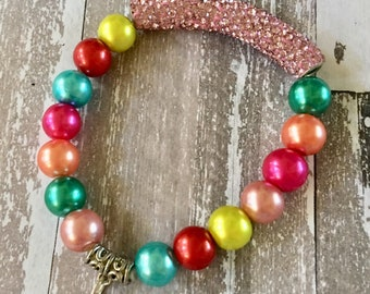 Bracelet Multicolored Pearlized Round Beads with Light Pink Rhinestone Pave Tube Stretch Bracelet