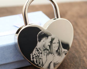 Love Lock Personalized//Heart Lock with Photo and Engraved Message, Ideal for a Love Lock Ceremony /Couples Gifts,Wedding Locks/Custom Lock