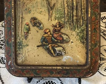 Rare Huntley Palmer Biscuit Cookie Tin Colored Lithograph North American Sporting Scenes c. 1885