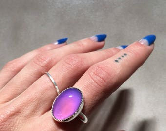 Large Oval Mood Ring   Sterling Silver or 18k Gold