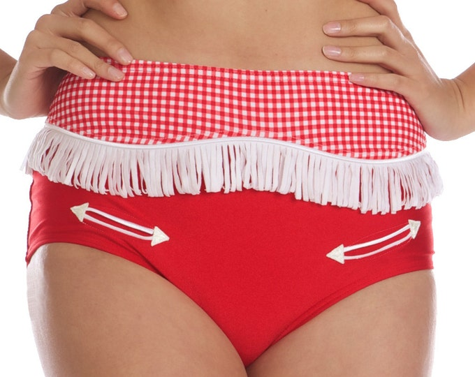 Josie Western Cowgirl Bikini Bottom in Red with Red and White Gingham