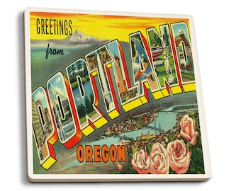 Greetings from Portland, Oregon - Vintage Halftone (Set of 4 Ceramic Coasters)