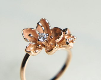 Unique engagement ring, 14K gold ring, diamond ring, cherry blossom ring, flower engagement ring, proposal ring, one of a kind ring