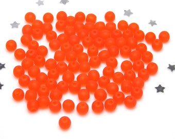 Matte 4mm Czech Druk Bead - Hyacinth Orange Frosted Glass - 100 beads - Orange Crush, Citrus, Summer Fresh