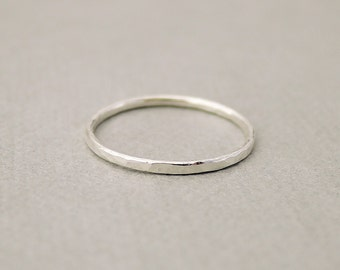 One Thin Silver Ring minimal stacking rings Midi Ring tiny sterling silver ring jewelry for girls thin hammered stack ring