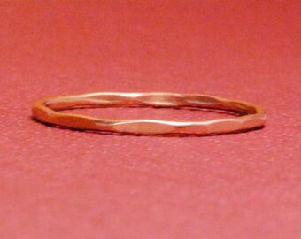 Thin Rose Gold Ring/Size 7/Rose Gold Ring/Thin Gold Band/Tiny Gold Ring/Pink Gold Plated/Custom Teeny Slightly Beaten Ring*Rose Gold Filled*