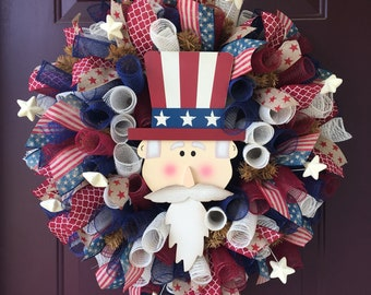 Uncle Sam Patriotic Americana Deco Mesh Wreath