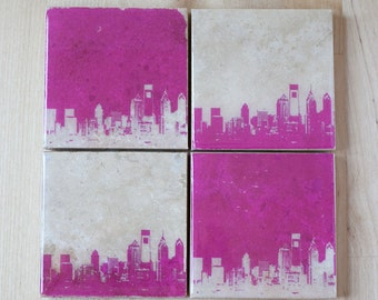 Philadelphia Skyline Coaster Set (4 Stone Coasters, Pink & White) Philly Cityscape Home Decor