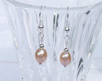 Earrings, Freshwater Pearls, Silver, Peach, Drop Style, Dangles, Wedding, Bridesmaid