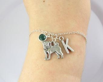 Personalized Pug Bracelet- choose a birthstone and initial, Pug Jewelry, Pug Gift, Personalized Pug, Pug Charm, Pug Dog, Dog Bracelet, Dog