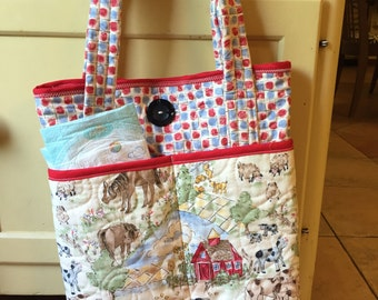 Farm Animal Quilted Diaper Bag/ Toddler Bag