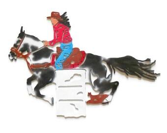 metal barrel racing woman on horse//metal wall decor//mothers day gift//wedding gift//bridesmaid gift//gift for her//metal horse decor