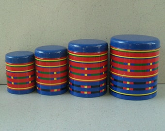 Vintage Taylor & NG  tin canisters Japan 1985, vintage kitchen canisters  ,vintage canister set, nestling tin canisters.