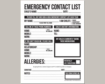 Emergency Contact Form for Nanny, Babysitter or Daycare: printable pdf sheet