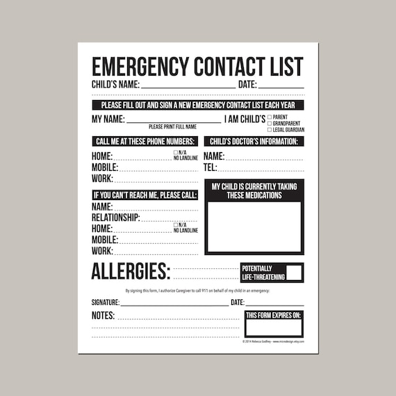 emergency contact information form printable