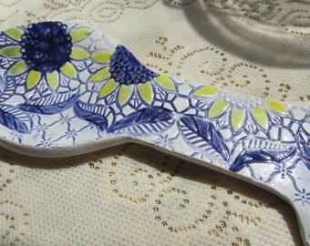 Sunflower Ceramic Spoon Rest