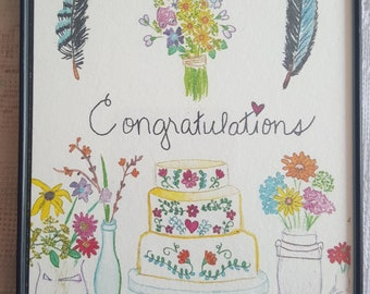 Watercolor Print in Magnetic Frame - 'Congratulations'