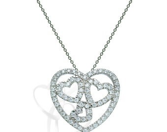 Pendants talliejewelry diamond heart pendant14k white gold love heart pendant necklace double heart charm pendant mozeypictures Choice Image
