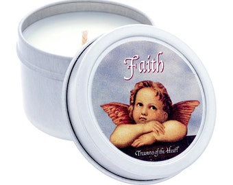 2 Oz. FAITH Angel Soy Tropical Citrus Scented Candle in Silver Tin