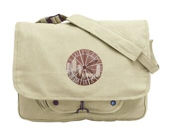 Clockwork Embroidered Canvas Messenger Bag