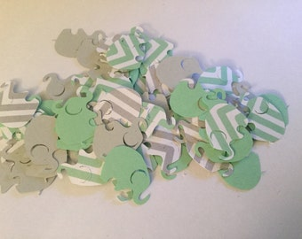 Elephant Baby Shower Green Chevron Elephant Green Gray Elephant Confetti Elephant Cut Out Elephant Theme Baby Shower Green Elephant Confetti