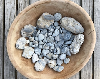 Lake Erie Light Blue Grey Slag Aggregate Conglomerate Beach Stones Collection - 120+ Pieces