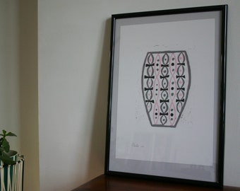 Pink, black and grey vase modernist reduction lino print
