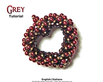 Tutorial Grey Pendant - beading pattern - 3D heart - double face