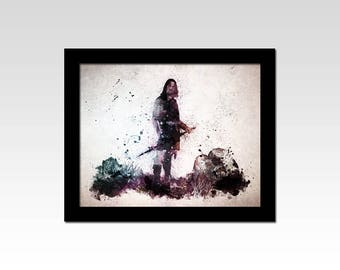 Lord of the Rings inspired Aragorn watercolour effect print
