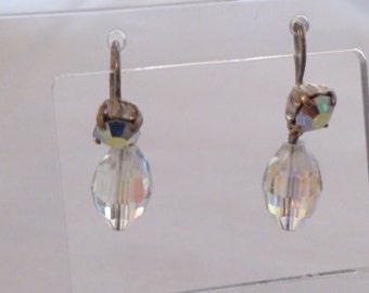 vintage crystal and rhinestone drop earrings